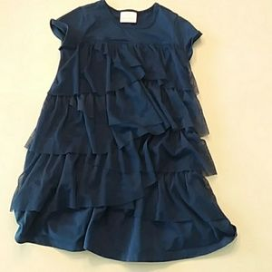 Hanna Andersson 120 (6-7) navy blue tiered dress